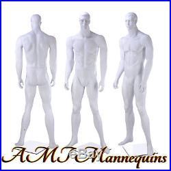 Male mannequin dummy man, matte white, muscular, hand made manikin -Bob-12-6
