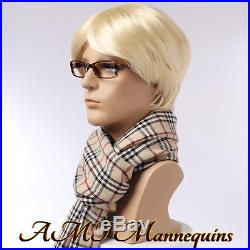 Male mannequin head displays wigs, hats, scarves, glasses, ear phones, head MO