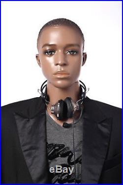Male mannequins male manikin, painted skin, plastic african men manequin-W3-12-1