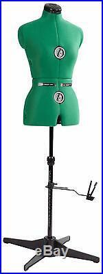 Maniqui Femenino De Costura Ajustable Torso Verde Forma De Vestido De Moda NEW
