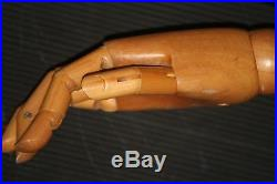 Mannequin arm WOOD articulated VINTAGE store display art deco posable form hand