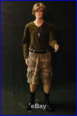 Men's Realistic Short Height Fleshtone Full Body Mannequin with Movable Elbows