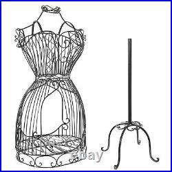 MyGift Vintage Black Metal Wire Mannequin Frame Dress Form Display Garment Rack