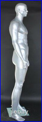 New! 6'4H Matte Silver Finished Muscular Male Mannequin Body Form torso SFM6ST