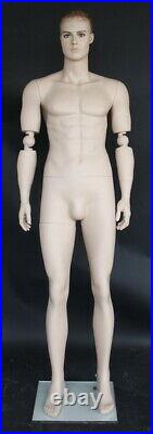 New! 6 ft 1 in Male Mannequin with Bendable Arms, Skin tone face make up SFM20FT