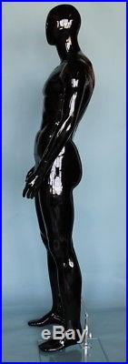 New! 6 ft 3 in Tall Male Abstract Head Mannequin, Glossy Black Finished SFM51HB