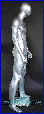 New! 6 ft 3 in Tall Male Abstract Head Mannequin, Matte Silver Finished SFM66E-ST
