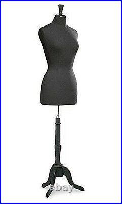 New Womens Ladies Jersey Dressmaker Dress Form Mannequin Black Base