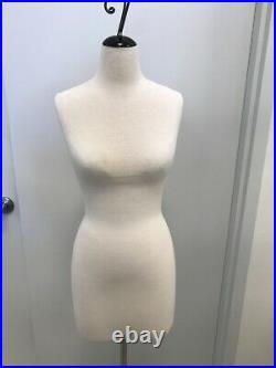 Pinnable Female Dress Form Mannequin white on steel rolling base