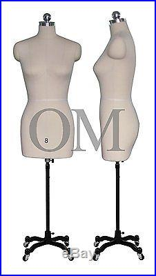 Pinnable Female Mannequin Dress Form, With Heavy Duty Rolling Base, Size 8 (mt 8)