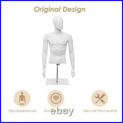 Plastic Male Torso Mannequin Men Half Body Dress Form Display Clothing with Stand