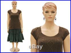 Plus Size Female Adult Fiberglass Fleshtone Mannequin with Face and Molded Hair