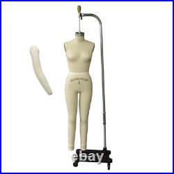 Pro Female Full Body Dress Form with Legs and Collapsible Shoulders Size 8