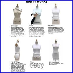 Pro Female Half Body Dress Form with Collapsible Shoulders Size 12