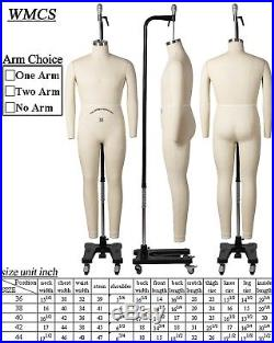 Professional Male Full Body Mannequin Dress Form, WithArms Size 38 (wmcs 38+2)