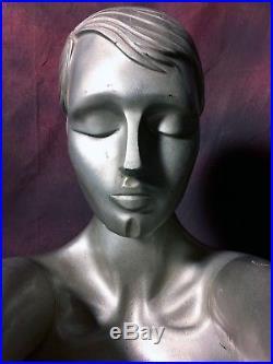 RARE Vintage 80s Female Mannequin Metallic Silver Diving YOGA Art Deco Full Body