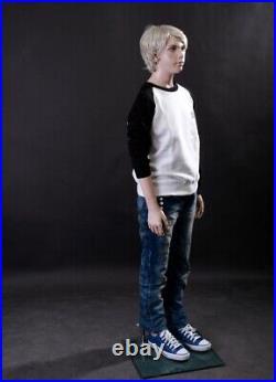 Realistic Boy Junior Kids Fleshtone Fiberglass Full Body Mannequin with Base