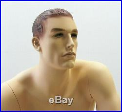 Realistic Face Adult Male Seated Fiberglass Mannequin with Molded Hair + Stool