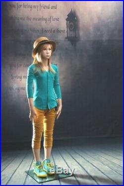 Realistic Female Junior Kids Fleshtone Fiberglass Full Body Mannequin with Base