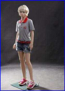 Realistic Female Junior Kids Fleshtone Full Body Fiberglass Mannequin with Base