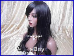 Realistic Fiberglass African Black Female Big Dark Eyes Mannequin Head Bust Wigs