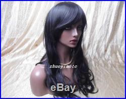 Realistic Fiberglass African Women Big Dark Eyes Mannequin Head Bust Wigs Zsell