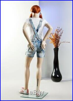 Realistic Girls Teen Mannequin with Facial Features and Wig with Metal Base