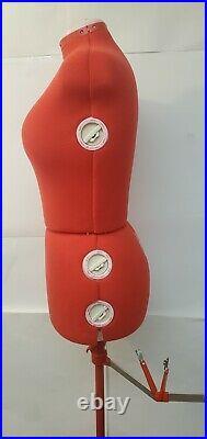 Singer Model 151 Adjustable Plus Size Red Dress Form Stand EUC