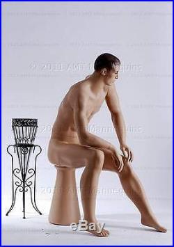 Sitting mannequin male sitting mannequin fiber glass manikin Joe +Pedestal