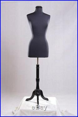 Size 10-12 Female Mannequin Manikin Dress Form #F10/12BK-JF+ BS-02BKX