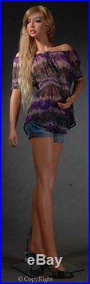 Stunning Sexy Female Full Body Fiberglass Realistic Mannequin Flesh Tone + Wi