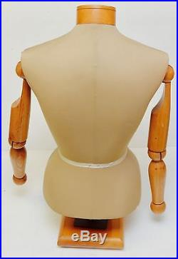 Tailor Sewing Female Mannequin Bust Torso Articulated Wooden Arms Human Art VTG