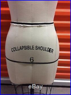VINTAGE French European DRESS FORM Mannequin Size 6 Collapsible Shoulders
