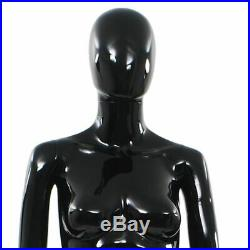 VidaXL Full Body Female Mannequin with Glass Base Glossy Black 68.9 Display