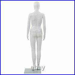 VidaXL Full Body Female Mannequin with Glass Base Glossy White 68.9 Display