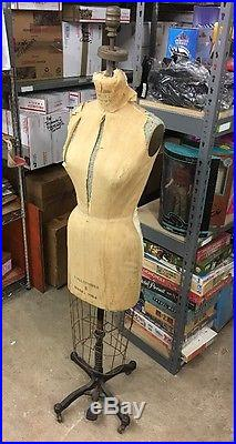 Vintage 1964 Superior Model (Wolf) Collapsible Dress Form 8 Original Cage Stand