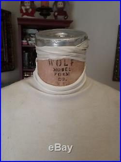 Vintage 1973 Wolf Mannequin Collapsible Dress Form Original Cage Cast Iron Stand