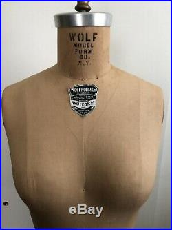 Vintage 1975 WOLF NY Model Dress FORM Women Mannequin Cast Iron Base Wheel Spins