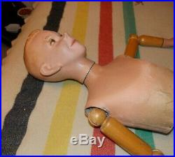Vintage 20's, 30's Mannequin Articulated Wood jointed arms Young Boy life size