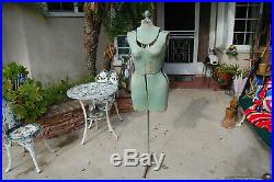 Vintage 40's RITE DRESS FORM Adjustable Fabric Cast Iron Base mannequin stand