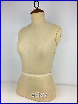 Vintage French Parisian Female Mannequin Dress Form Torso Linen