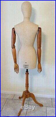 Vintage French dress form Mannequin with articulating wooden arms Paris France