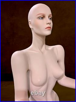Vintage Realistic Full Female Mannequin Life Size Trapped in Window Pose