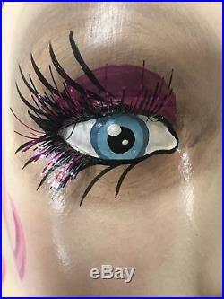 Vintage Style Art Deco Flapper Mannequin Head/ Hat Stand Pink Glam Glitter Torso