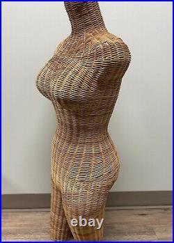 Vintage Wicker Mannequin Woven Torso Rattan Dress Form BOHO 60-70s Female