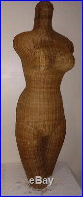 Vintage Wicker Mannequin Woven Torso Rattan Manikin Dress Form Jewelery Display