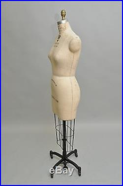Vintage Wolf Collapsible Size 6 Model 1998 Dress Form Cage Iron Stand Mannequin