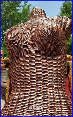 Vintage Woven Wicker Body Dress Form Woman Torso Mannequin