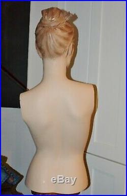 Vtg Mannequin Female Torso Display Bust Shabby Eyelashes Molded Hair & Breasts
