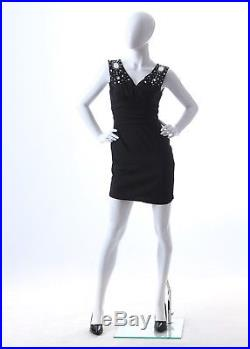 White Gloss Female Mannequin with Arms on Hips